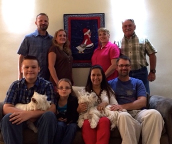 Christmas family picture ~ Josh & Erin, Terry & Donna, Aden & Leah, and Johana & Jason (and our Westies, Tami & Chanel)